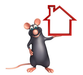 Rat cartoon character with home sign