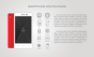 Smartphone specification flat line icons. Gadget descript