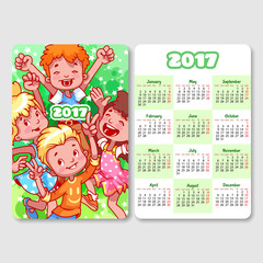 Calendar for 2017 year with happy children.