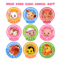 Set of round stickers with animals and their sounds.