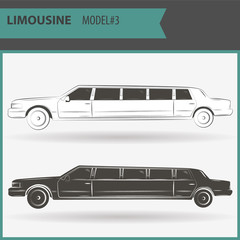 illustration of two vip limousine isolated on white background