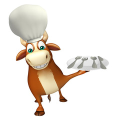 Bull cartoon character with chef hat and dinner plate