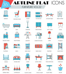 Vector Furniture ultra modern outline artline flat line icons for web and apps.