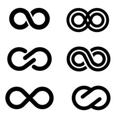 Vector black infinity icons set