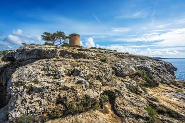 Torre de Cala Pi, medieval watchtower on the coast of Cala Pi