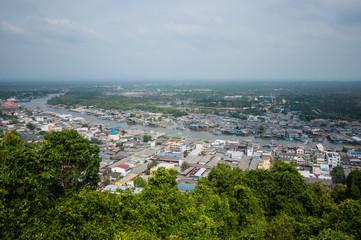View of coastal village