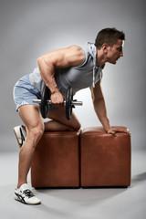 Man doing dumbbell row