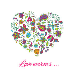 Vector floral heart. Doodles . Illustration for postcards, posters or clothing . Drawing can be used for the cover of a notebook , notepad , or as individual design objects .