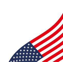 White Background USA Flag