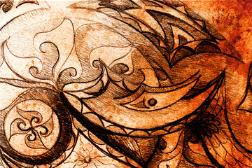 Ornamental Drawing. Original hand draw and computer collage. Color structure.