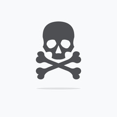 Crossbones and skull death flat icon. Vector illustration.