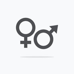 Male and female sign. Gender symbol icon. Vector illustration.
