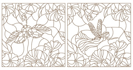 Set contour illustrations in the stained glass style ladybug and fairy on a background of leaves and flowers