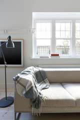 Vertical version of Danish scandi styled living room interior
