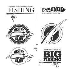 Vintage fishing vector labels, logos, emblems set. Hobby fishing logo and logotype fishing with spinning and float illustration