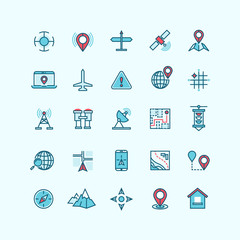 Maps and location flat vector icons. Navigation global location with gadget phone, compass and search location on laptop illustration