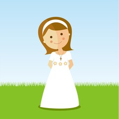 First Communion girl with brown hair in a park