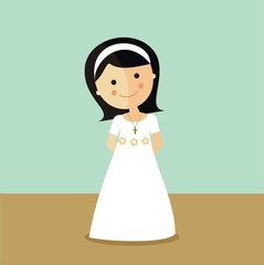 First Communion girl with dark hair