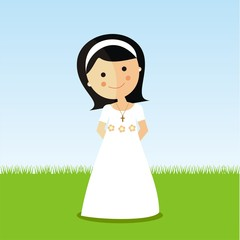 First Communion girl with dark hair in a park
