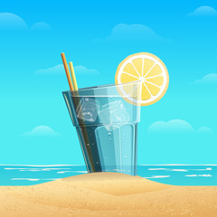 Glass with lemonad on sea background