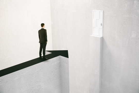 Businessman overcoming obstacles