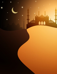 Desert and mosque Islamic background with crescent