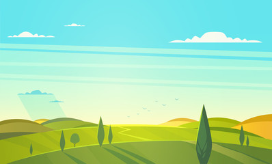 Printed roller blinds Turquoise Valley landscape. Vector illustration.