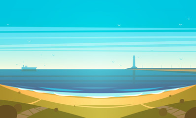 Printed roller blinds Turquoise Seashore. Vector illustration.