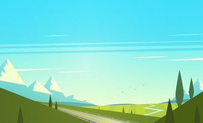 Poster Turkoois Natural landscape with mountains. Vector illustration.