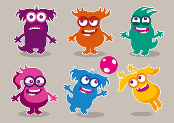 Door stickers Monster Funny monsters with various hairstyles