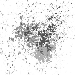 Vector silver paint splash, splatter, and blob shiny on white background. Glowing spray stains abstract background, vector illustration.
