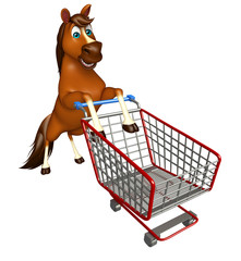 fun Horse cartoon character with trolly