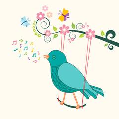 Singing bird on swing - birdsong