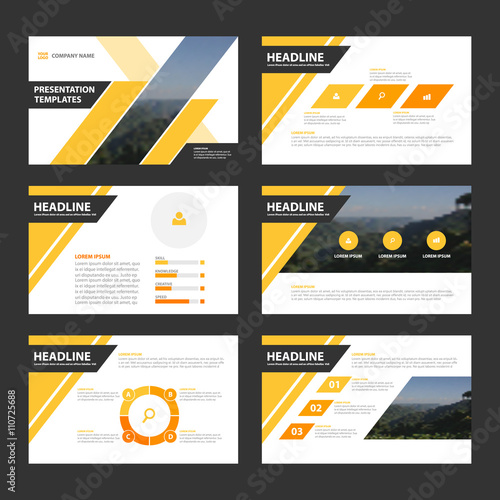 yellow black vector presentation template business proposal leaflet