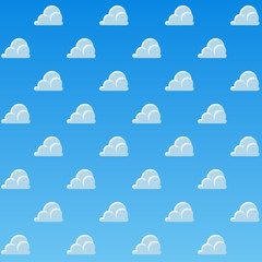 Cartoon Clouds Pattern background. Blue sky with clouds pattern. Vector illustration