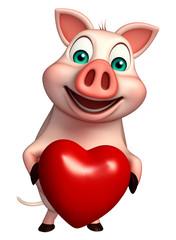 fun  Pig cartoon character with heart