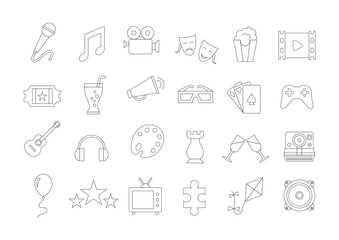 Entertainment vector icons set