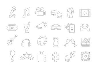 Entertainment vector icons set