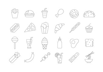 Fastfood vector icons set