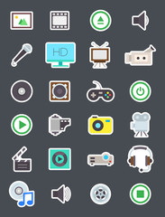 Multimedia isolated vector icons set