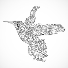 Hummingbird with floral ornament. Tattoo art. Retro banner, invitation,card, scrap booking. t-shirt, bag, postcard, poster.Highly detailed vintage style hand drawn vector illustration