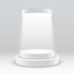 illuminated white round podium