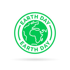 Earth day icon with green world symbol stamp. Save the environment. Vector illustration.