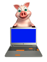 Pig cartoon character with laptop