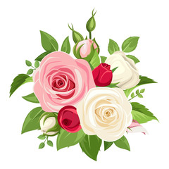 Vector bouquet of red, pink and white roses and buds isolated on a white background.