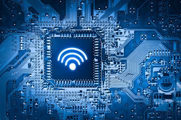 Social media, WIFI & Internet icon on  motherboard