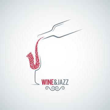 wine and jazz concept design vector background