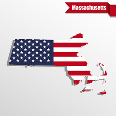 Massachusetts State map with US flag inside and ribbon