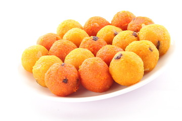 Homemade Indian Traditional Diwali sweets called Motichoor Ladoo or bundi laddu in plate