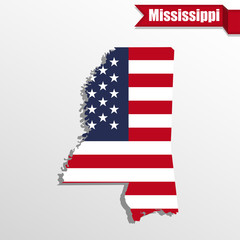 Mississippi State map with US flag inside and ribbon